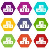 Alphabet cubes with letters A,B,C icon set color hexahedron. Alphabet cubes with letters A,B,C icon set many color hexahedron isolated on white vector vector illustration
