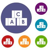 Alphabet cubes with letters A,B,C icons set Stock Photography