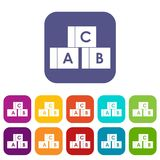 Alphabet cubes with letters A,B,C icons set. Vector illustration in flat style in colors red, blue, green, and other Stock Images