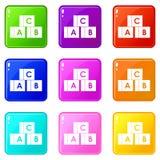 Alphabet cubes with letters A,B,C set 9 Stock Images