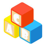 Alphabet cubes with letters icon, cartoon style Stock Image