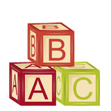 Alphabet cubes. Three alphabet cubes with the first three letters Stock Photography