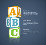 Alphabet cubes. Three alphabet cubes with letters. EPS10 vector background Stock Images