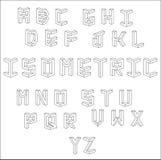 Alphabet cubique isométrique de vecteur Ensemble de lettres de vecteur construites sur la base de la vue isométrique ABC de calib Image stock