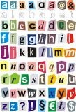 Alphabet cut out of paper - small letters. Ration of small letters of the alphabet Stock Image