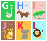 Alphabet with Cute Cartoon Animal Flat Vector Set. Zoo ABC english alphabet concept with latin letters and funny cartoon wild, domestic animals flat vectors on Royalty Free Stock Photos