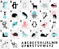 Alphabet with cute hand-drawn animals. Cartoon alligator, bear, deer, fox, elephant, monkey, raccoon, lion, monkey and other. vector illustration