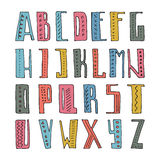 Alphabet. Cute hand drawn alphabet made in . ABC for your design. Easy to use and edit letters. Hand drawn digital isolated alphabet for DIY projects and design Royalty Free Stock Photography