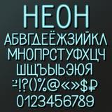 Alphabet cyrillique au néon Photographie stock