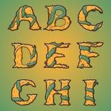 Alphabet décoratif de Halloween - lettres d'arbre et de racines, police. illustration stock