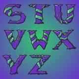 Alphabet décoratif de Halloween - lettres d'arbre et de racines, police. illustration libre de droits