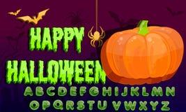 Alphabet d'éclaboussure de Halloween, illustration Eps10 Ensemble de vecteur de lettres colorées illustration libre de droits