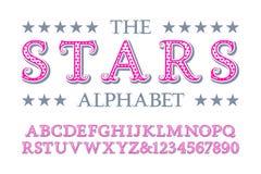 Alphabet d'étoiles avec des nombres dans le style romantique de cru illustration de vecteur