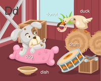 Alphabet.D. Letter dog donut dish drum duck Stock Photo