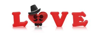 Alphabet d'amour et coeur rouges de tissu, caractère d'homme Image libre de droits