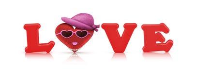 Alphabet d'amour et coeur rouges de tissu, caractère de femme Photos stock