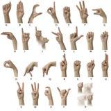 Alphabet d'ASL avec des étiquettes Images stock