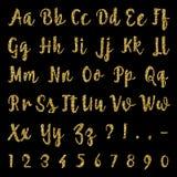 Alphabet d'or d'isolement sur le fond noir illustration de vecteur