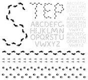 Alphabet d'empreinte de pas Images libres de droits