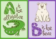 Alphabet d'enfants avec les animaux drôles alligator et ours Photo libre de droits
