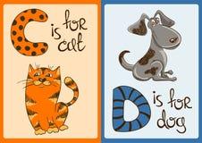 Alphabet d'enfants avec les animaux drôles chat et chien Images libres de droits