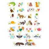 Alphabet d'enfants avec les animaux mignons de bande dessinée et tout autre elem drôle Image stock