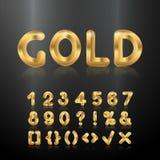 Alphabet d'or Ensemble de nombres 3d métalliques illustration stock