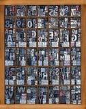 Alphabet d'impression typographique Photo stock
