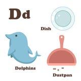 Alphabet D letter.Dish,Dolphins,Dustpan Royalty Free Stock Images