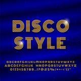 Alphabet dans le rétro effet de police de disco de style illustration libre de droits