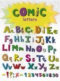 Alphabet dans le style comique Lettres colorées de vecteur Fonte tirée par la main Photographie stock libre de droits