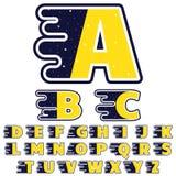 Alphabet dans le thème d'espace extra-atmosphérique Les lettres sont décorées des étoiles, galaxies, comètes, les soleils, planèt Image libre de droits