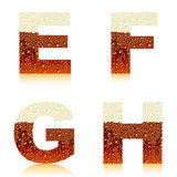 Alphabet dark beer EFGH Stock Image