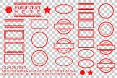 Alphabet de calibre, nombre, pour cent, dollar, point, étoile, rectangle, lignes effet ovale de tampon en caoutchouc de cercle po illustration de vecteur