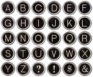 Alphabet de clé de machine à écrire de cru Photo stock