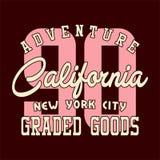 Alphabet de conception et aventure la Californie de nombres Photos stock