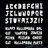 Alphabet de coupe-circuit de vecteur de coupe de lino de Halloween Illustration de Vecteur