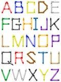 Alphabet de crayon - caractères anglais Images stock