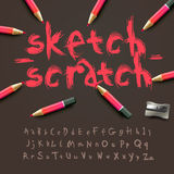 Alphabet de croquis illustration stock
