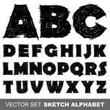 Alphabet de croquis de vecteur Images libres de droits
