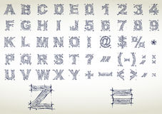Alphabet de croquis. Illustration de vecteur Photo stock