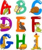Alphabet de dessin animé avec des animaux Photographie stock libre de droits