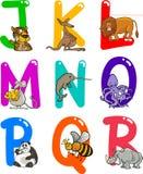 Alphabet de dessin animé avec des animaux Image stock