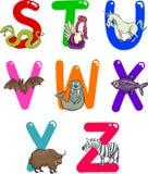 Alphabet de dessin animé avec des animaux illustration libre de droits