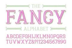 Alphabet de fantaisie avec des nombres dans le style de fête à la mode illustration libre de droits