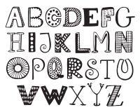 Alphabet de fantaisie tiré par la main, lettres drôles de griffonnage illustration stock