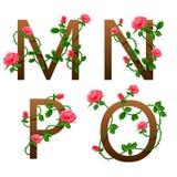 Alphabet de fleur avec les roses rouges Images libres de droits