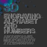 Alphabet de gravure et nombres, gravure de vintage Photo stock