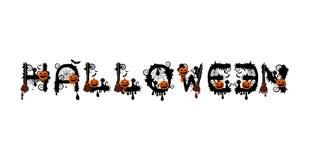 Alphabet de Halloween pour votre vecteur de conception avec le potiron, balai illustration stock