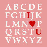 Alphabet de jour du ` s de Valentine, amour ABC Photo stock